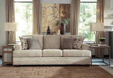 ** BRAND NEW ** ASHLEY BEIGE TAN SOFA WITH ACCENT PILLOWS ** NO CREDIT in Nashville, Tennessee