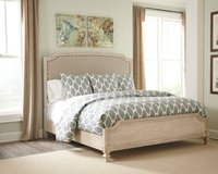 ** NO CREDIT ** ASHLEY RUSTIC WHITE WASHED UPHOLSTERED QUEEN BED ** in Fort Campbell, Kentucky