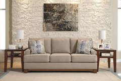 ** BRAND NEW ** ASHLEY TAN BEIGE SOFA WITH WOOD TRIM ** NO CREDIT in Fort Campbell, Kentucky