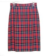 JH Collectibles Vintage Red Plaid Tartan Lined Pencil Skirt Women 12 Linen Blend in Morris, Illinois