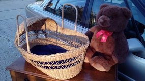 Wicker Basket Tote & Mr. Bear in Lockport, Illinois