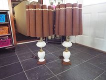 Lamps*Pair*Milk Glass*Like new*Solid Wood in Rolla, Missouri