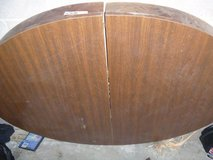 well used condition dark oak expandable table top missing legs and leaves 80386 in Huntington Beach, California