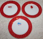 Set of 3 Decorative Winter Plates, Red & White, Mitten, Sleddin' Ice Skate, 7-in in Oswego, Illinois