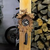 black forest miniature clock working wood carved birds leaves in Ramstein, Germany