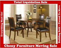 CTR 171201 NELMS 5-PIECE ROUND DINING TABLE AND CHAIR SET IN WALNUT in Great Lakes, Illinois