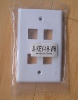 wall plate 4 hole port jack keystone audio wallplate white in Naperville, Illinois