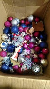 Box of Plastic Christmas Ornaments in Fort Campbell, Kentucky
