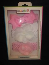 MUNCHKIN Head Band Baby Girl's Pink White Bow Set of 3 Hair Bands NEW in Naperville, Illinois