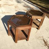 Matching Project End Tables / Side Tables w/ Glass Tops in Camp Lejeune, North Carolina