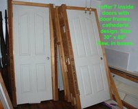 """7 Inside doors with frames, cathedral style, white 30"""" x 80"""". New. in Camp Lejeune, North Carolina"""
