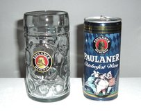 Vintage Rare Quart Paulaner Munchen Oktoberfest Wiesn Can 1L Glass Mug Set Lot in Shorewood, Illinois