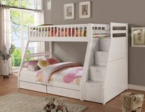 *Emma's White Twin over Full Bunk Bed w/ Staircase Storage and Drawer in San Clemente, California