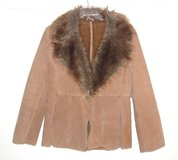Colebrook Camel Leather Suede Faux Fur Trim Jacket Womens Large in Morris, Illinois