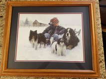 boy dogs in snow  bernese mtn dog, 2 other dogs r duncan print custom wood frame in Cadiz, Kentucky