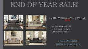 ** NO CREDIT ** ASHLEY SOFAS STARTING AT 399! ** END OF YEAR SALE ** in Nashville, Tennessee