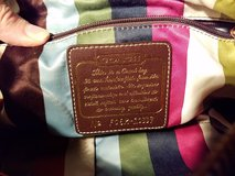 authentic coach satchel black with colorful striped interior in Elgin, Illinois