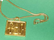 MMA 1976 Egyptian Hieroglyphs Revival Necklace with Snake Chain in Chicago, Illinois