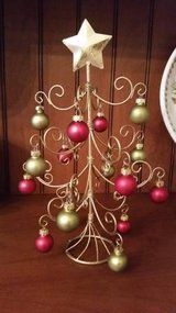 Ornament Tree w/ Ornaments - Cute Gold Metal Tree for Christmas in Westmont, Illinois