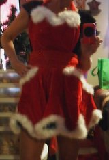 Flirty Red and Green Velvet Christmas Apron/Costume by Wayne M. Kleski in Yucca Valley, California