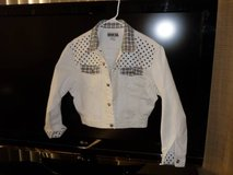 Womens denim-jacket-medium-white-with-black-trim in Yucca Valley, California
