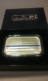 1oz Silver Bar - American Flag with Blue Police line in Warner Robins, Georgia