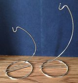 Lot of 2 Gold Brass Metal Ornament Display Stands Holders Hangers in Chicago, Illinois