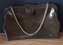 Vintage Ingber Brown Patent Leather / Vinyl Clutch Purse with Gold Tone Chain in Chicago, Illinois