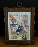 Vintage Decoupage Holly Hobbie Style Wooden Wall Plaque 70's Retro K.C. Artist in Chicago, Illinois