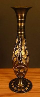 Oriental Black Metal Vase with Gold Etching in Chicago, Illinois