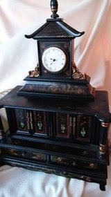 Vintage Chinoiserie Jewelry Box, Mantle Clock, Chest in Bolingbrook, Illinois