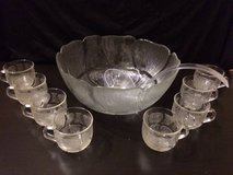 Glass flowered punch bowl with ladle and 8 cups in New Lenox, Illinois