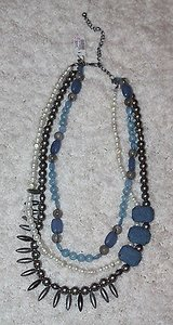 NWT Chico's Triple Strand Necklace, Denim/Blue/Pearl/Silver Beads, Retail $58 in Glendale Heights, Illinois