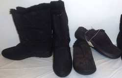 Sz 10 Women's Black Snow Boots -OR- Brown Mule Suede Slippers in Bolingbrook, Illinois
