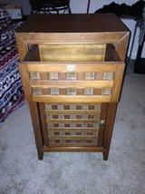 Pier One storage cabinet with shelve wood lattice in Roseville, California