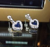 Diamond drop earrings 14kt white gold with blue sapphires in Camp Pendleton, California