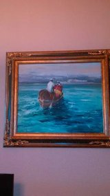 32 x 28 Original Oil Painting of Crew rowing supplies to ship WS W. Donald Smi in Vacaville, California