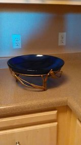 Large Bristol Blue Glass Bowl w/ornate metal holder reduced price in Roseville, California