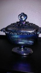 Blue Carnival Glass Candy Dish with Lide in Roseville, California