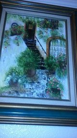 2 -19 x 23 framed oil painting of cottages in Italy in Beale AFB, California