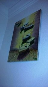 Handmade Ceramic painting of small boats 11 x 14 in Vacaville, California