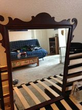 35 x 28 vintage solid wood framed Kincaid style mirror in Travis AFB, California