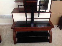 Three Level, One Drawer Black Metal and Cherry Finish TV Stand in Joliet, Illinois
