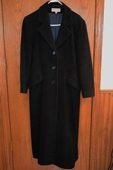 Women's Long Black Wool Winter Coat - Larry Levine (Nordstrom)- Size 8 in Elgin, Illinois