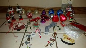 Christmas Decorations - Silver Crystal Tree Stems, Red Bows, Ornaments in Algonquin, Illinois