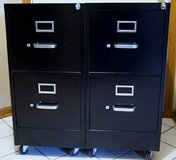 HON 2 Drawer Black Locking Letter Size File Cabinets on Casters in Elgin, Illinois