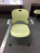 Citron Herman Miller Caper Stacking Side Guest Chairs with Casters in Cary, North Carolina