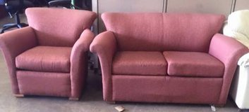 Loewenstein Red Fabric Love Seat + Club Chair Combo in Cary, North Carolina