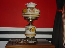 Vintage  Scalloped Edge Flowered Shade Hurricane Parlor/Table Lamp in Naperville, Illinois