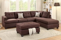 Chocolate Brown Linen Sectional Sofa and Ottoman FREE DELIVERY in Oceanside, California
